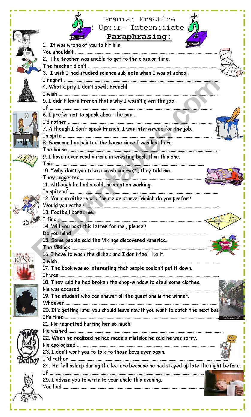 paraphrasing for upper intermediate students esl worksheet by pacchy. Black Bedroom Furniture Sets. Home Design Ideas