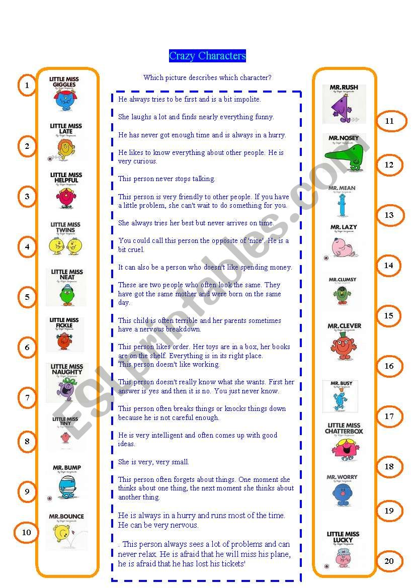 Crazy characters worksheet