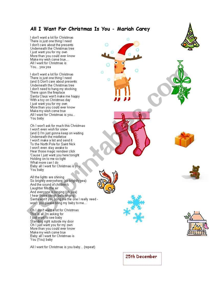 I Dont Want A Lot For Christmas.All I Want For Christmas Is Esl Worksheet By Patri