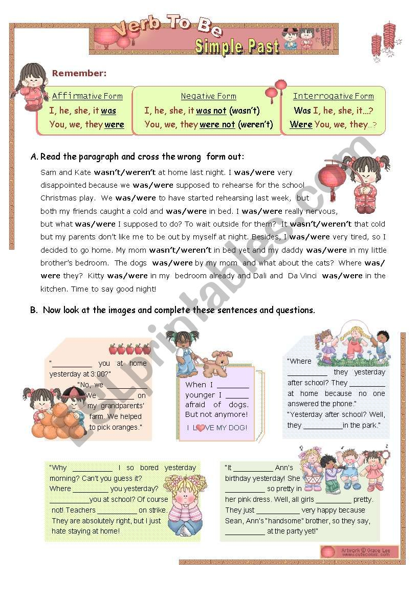 VERB TO BE - SIMPLE PAST (1/2)
