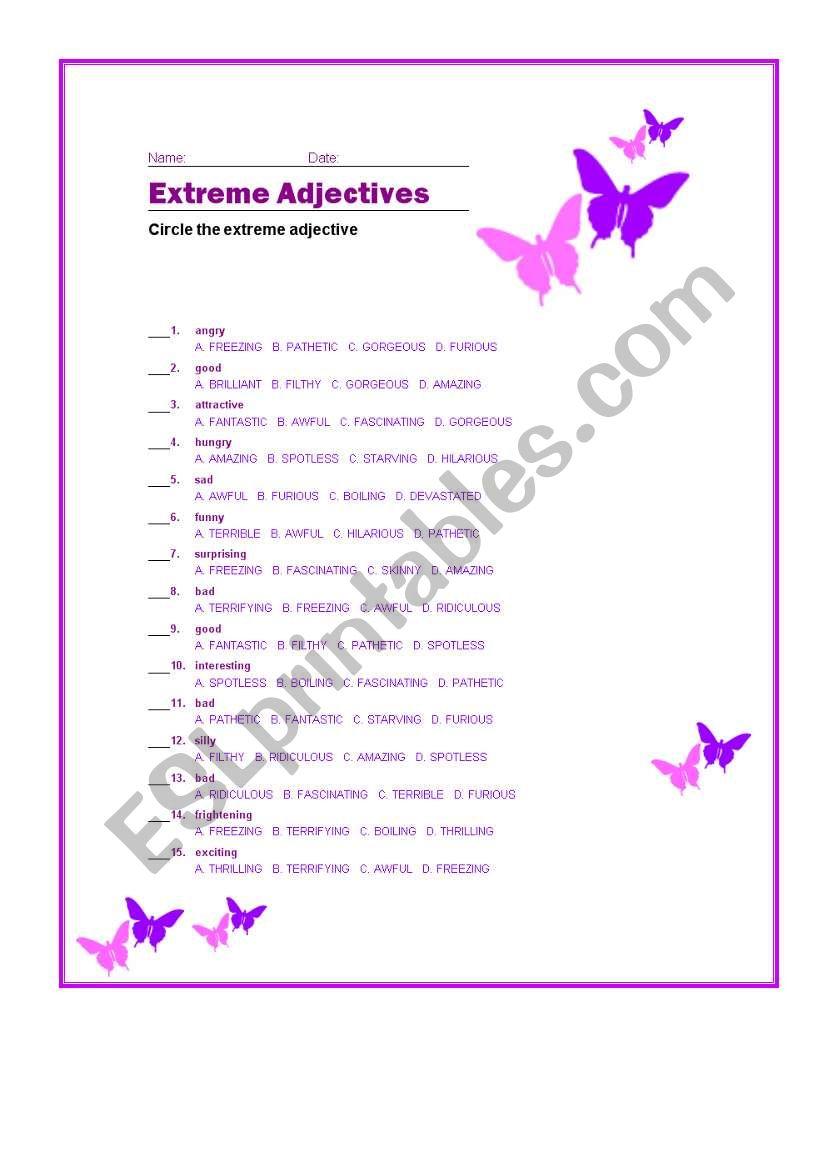 Extreme Adjectives Esl Worksheet By Eduran