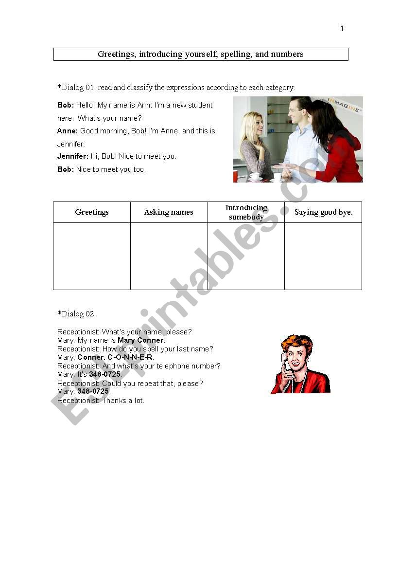 English Worksheets Greeting Introducing Somebory