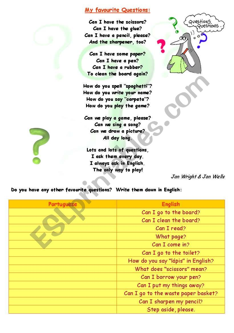 My favourite questions (classroom language)