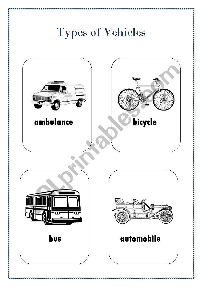 Types of vehicle (1) worksheet