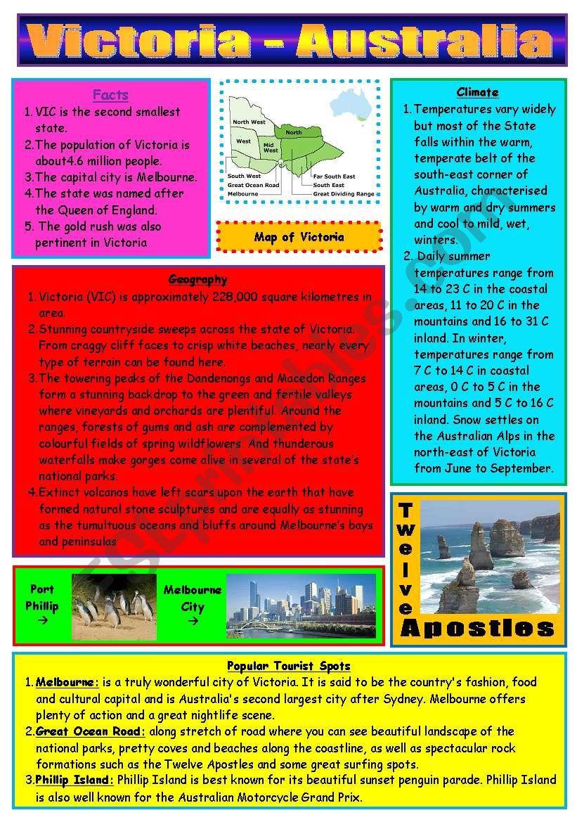 Victoria (State) - Australia worksheet