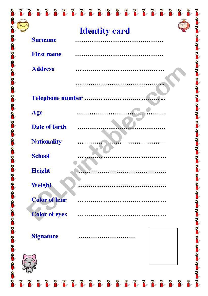 english worksheets  identity card