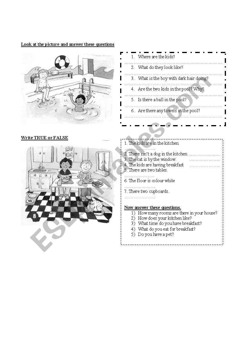 Describing pictures worksheet