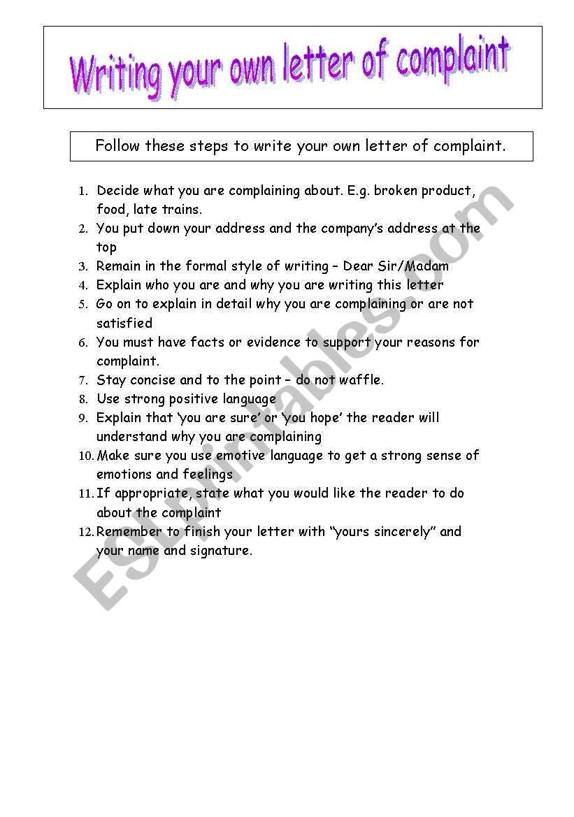 How To Write A Letter Of Complaint  Esl Worksheet By Leni