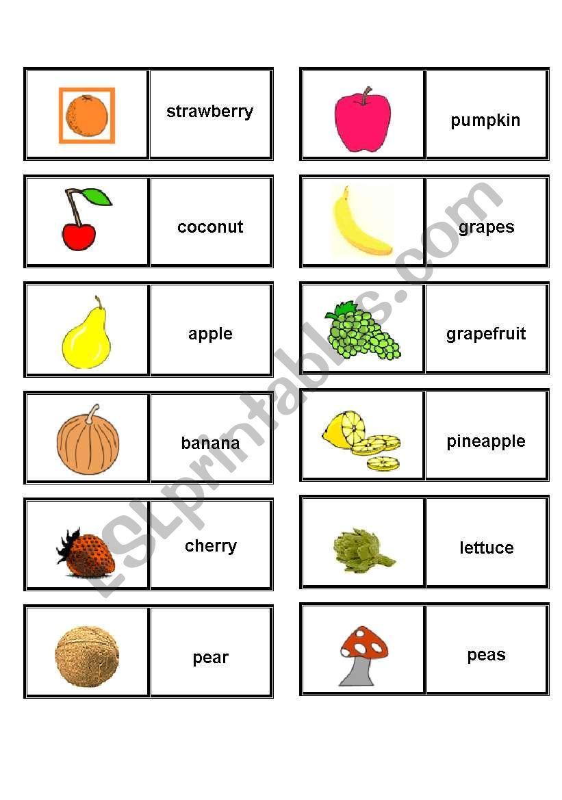 FRUIT & VEGETABLES DOMINOES worksheet