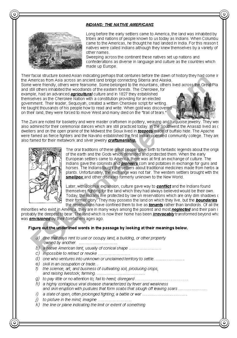 Indians: The Native Americans - Reading comprehension (2)