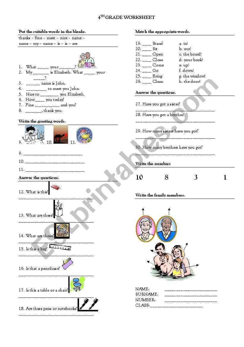 4TH GRADE WORKSHEET worksheet