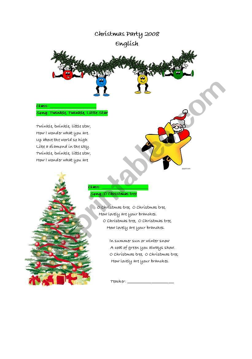 christmas party songs worksheet - Christmas Party Songs