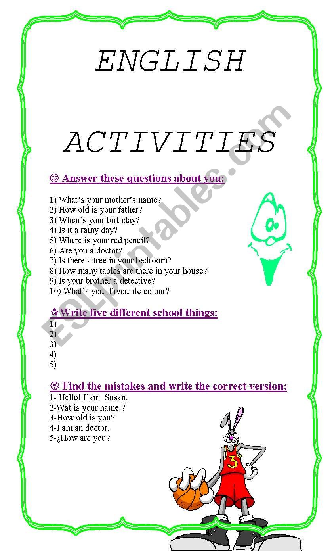ENGLISH ACTIVITIES FOR KIDS  worksheet
