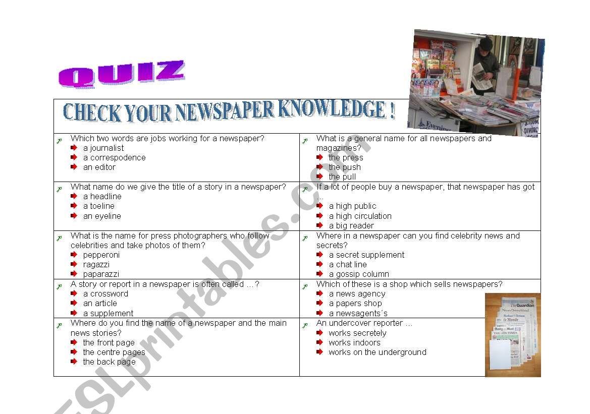 QUIZ ON NEWSPAPERS worksheet