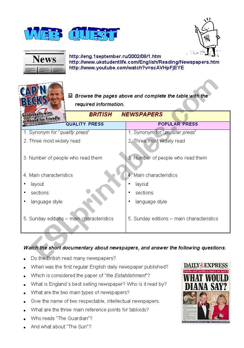 WEBQUEST ON NEWSPAPERS worksheet