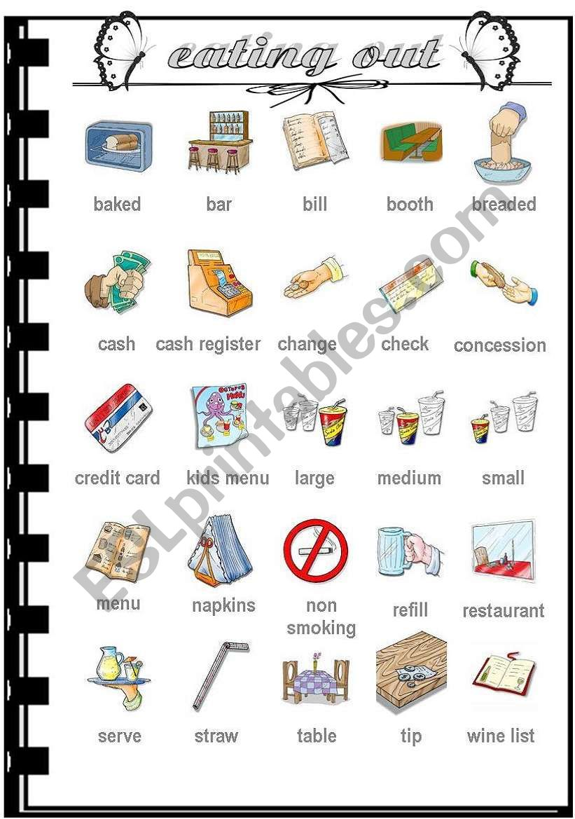 eating out - vocabulary worksheet