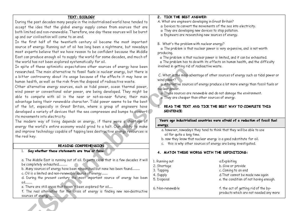 Ecology- Environment worksheet