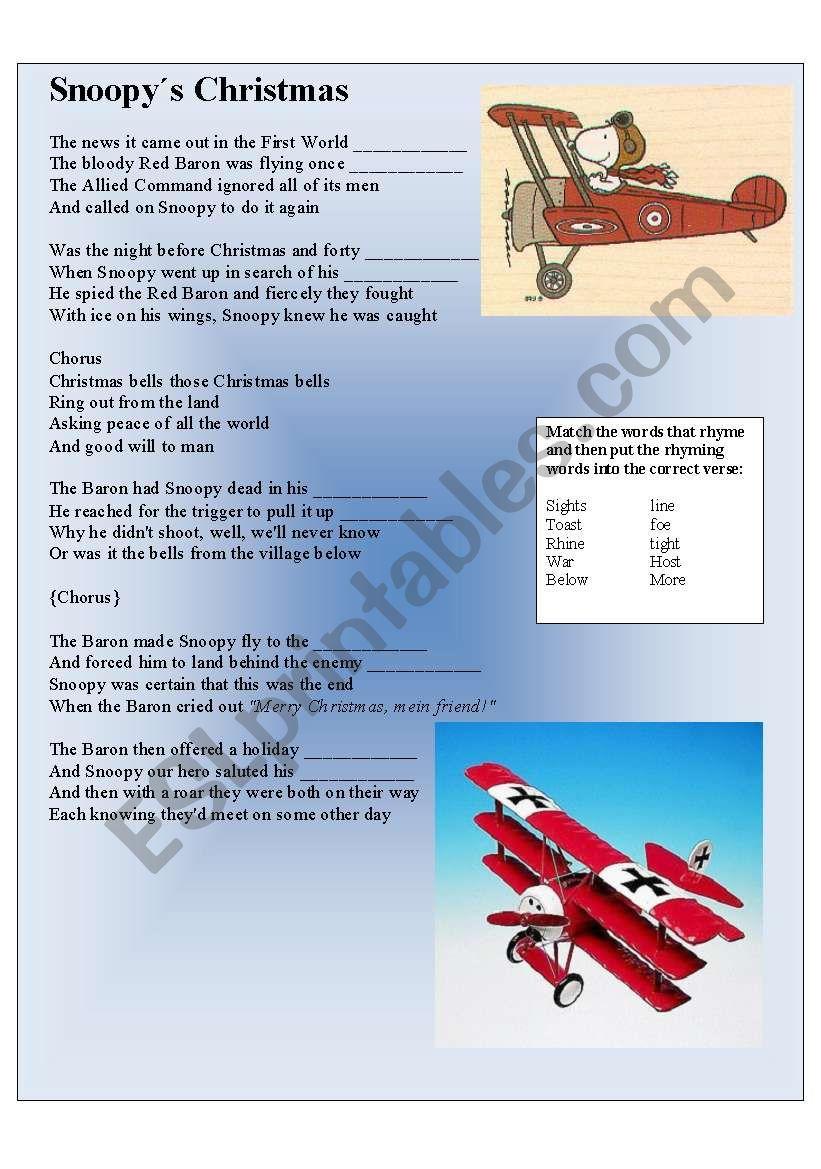 SNOOPY´s XMAS - ESL worksheet by Vickiii