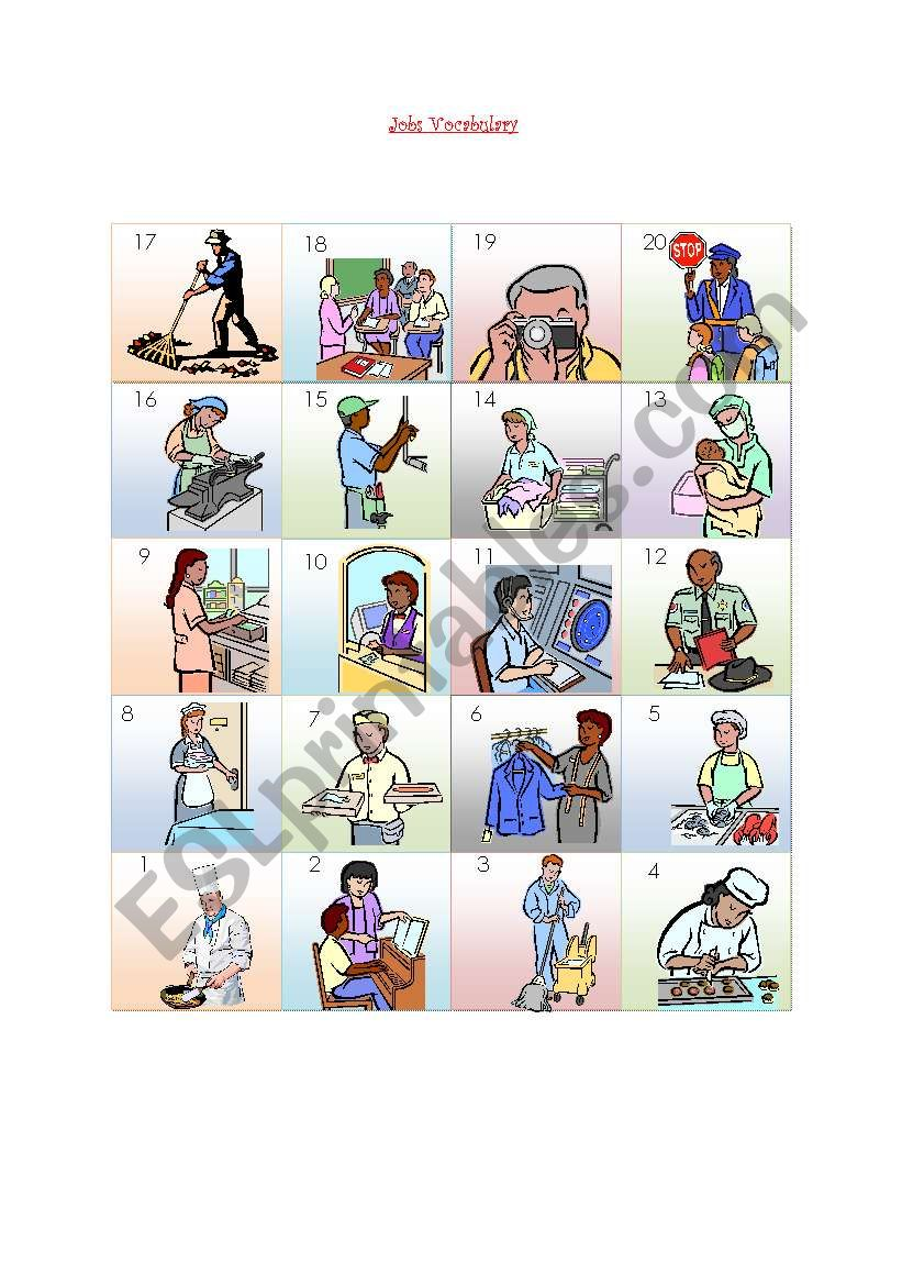 jobs vocabulary worksheet