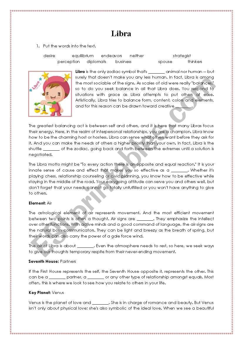 LIBRA zodiac sign reading - ESL worksheet by basiacheque