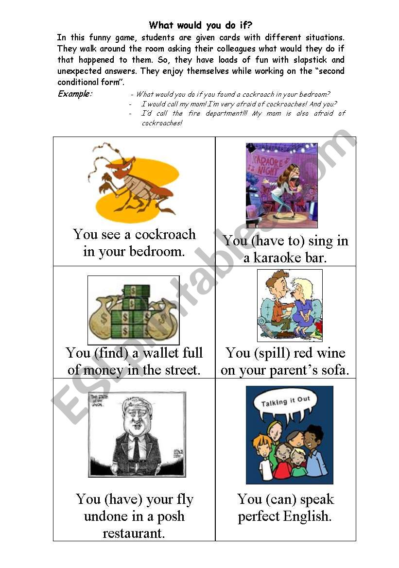 What would you do? - flashcards - Second conditional