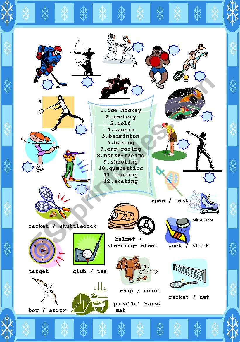 SPORTS + EQUIPMENT ( archery+bow/arrows , horse-racing+whip/reins,etc)