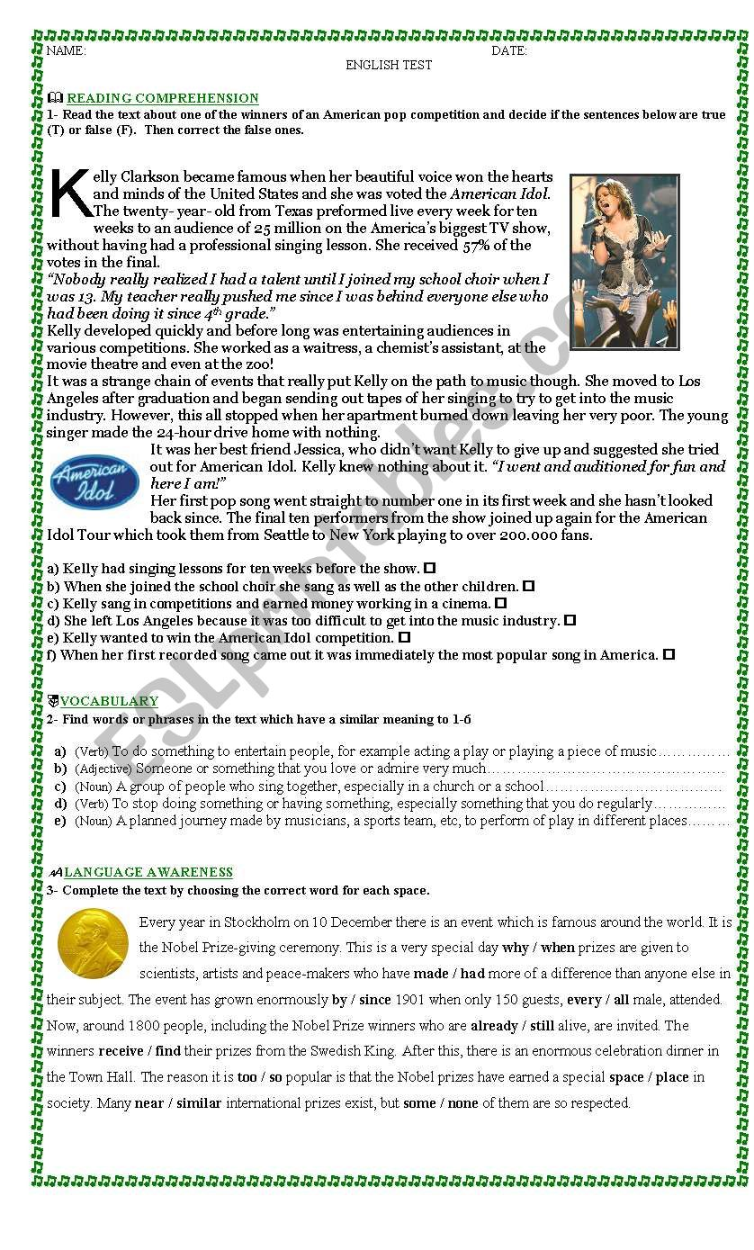 2 -sheet -Contextualized test to evaluate reading, listening and writing