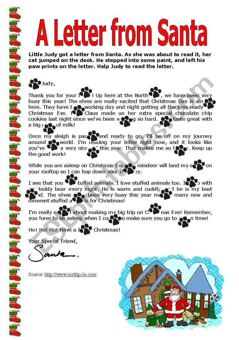 A Letter from Santa worksheet