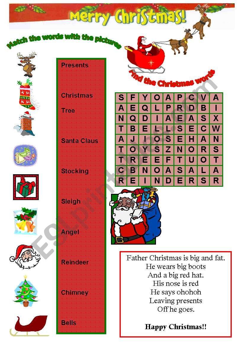 Christmas exercises worksheet
