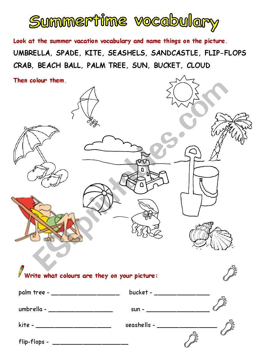 Summer vacation vocabulary - full version - ESL worksheet by zeberka