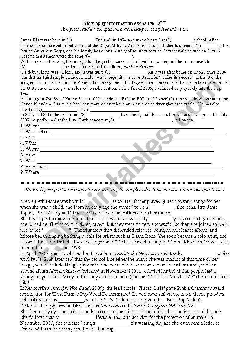 Biography exchan,ge pair work : James Blunt and Pink