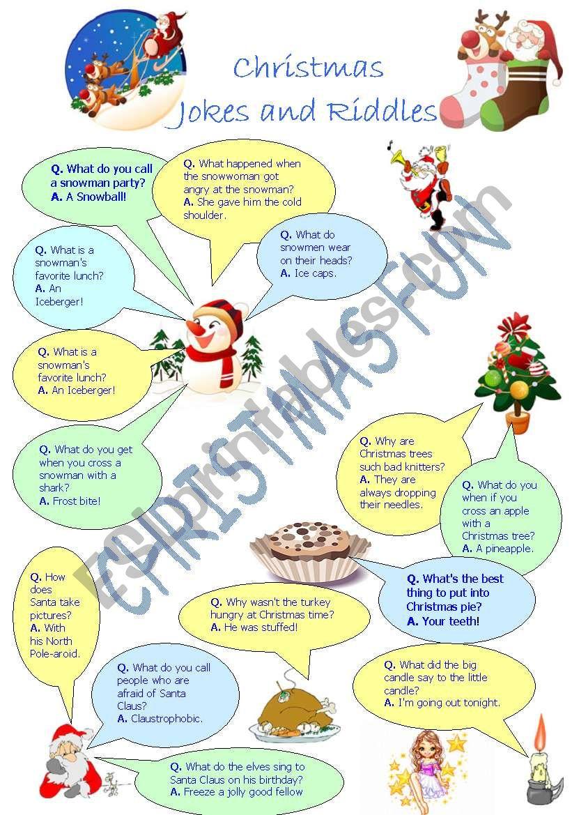christmas jokes and riddles worksheet