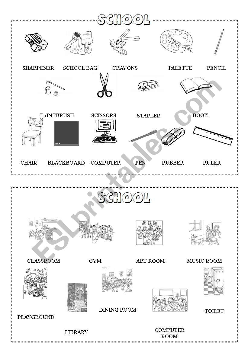 School mini-dictionary (B&W) worksheet