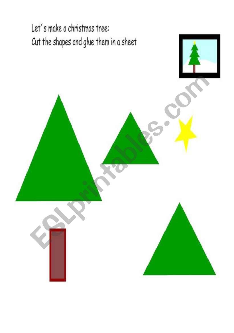 Let´s make a Christmas tree worksheet