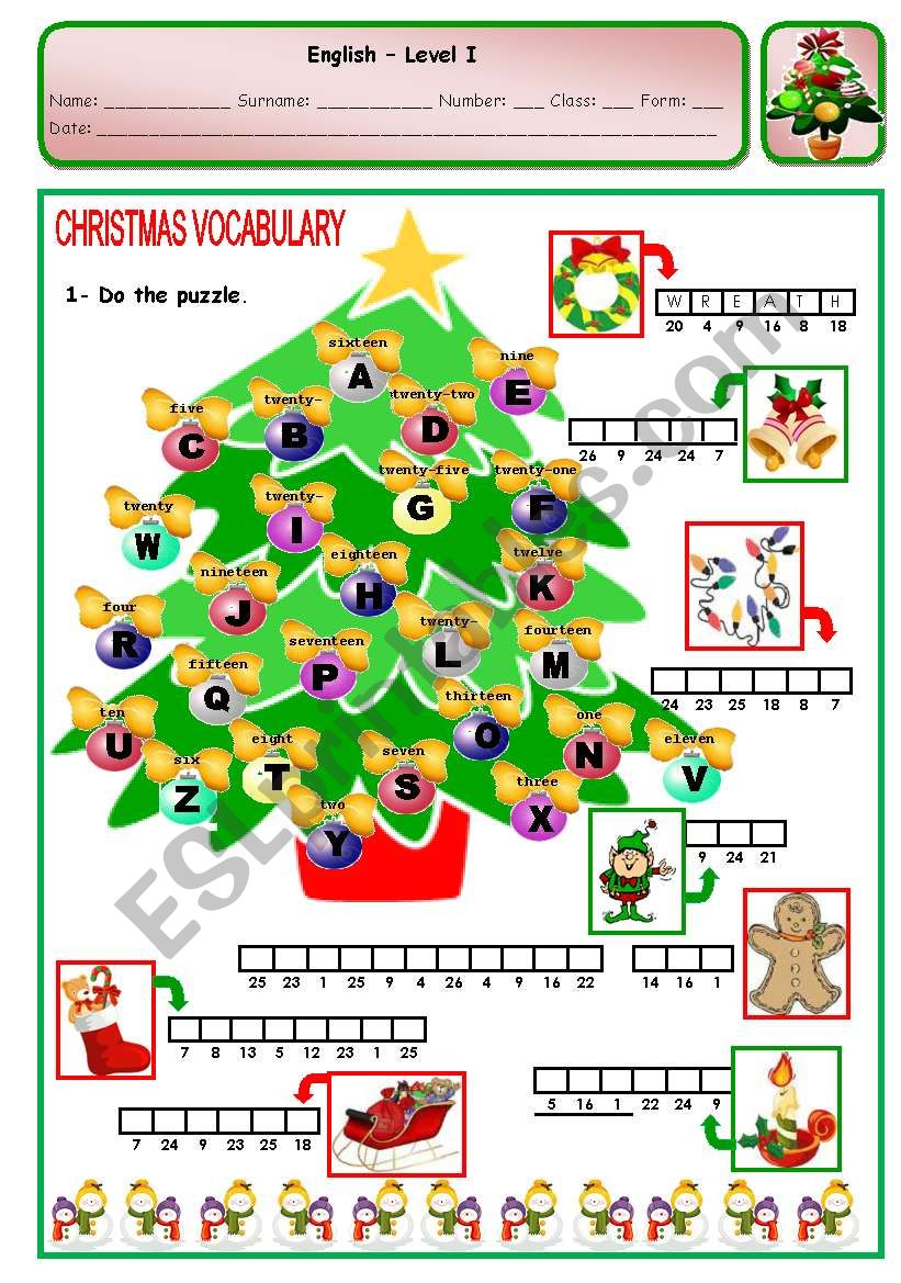 CHRISTMAS PUZZLE - PAGE 2 worksheet