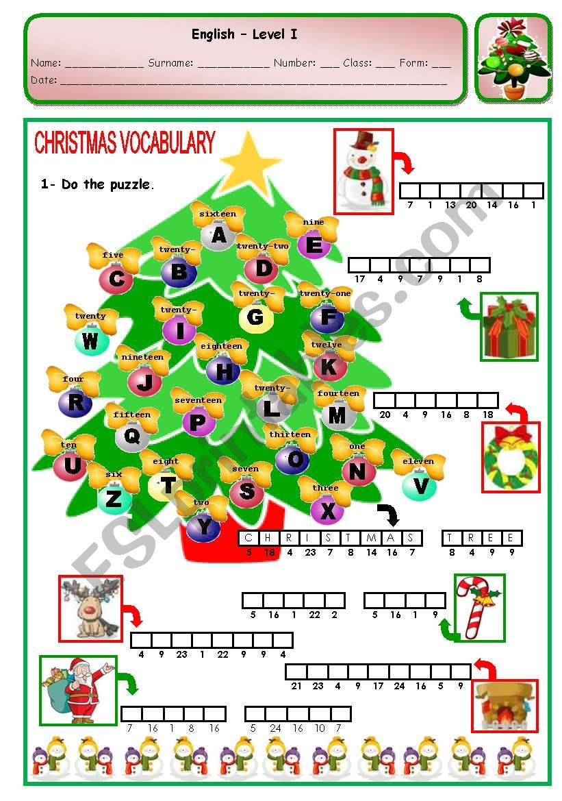 CHRISTMAS PUZZLE - PAGE 1 worksheet