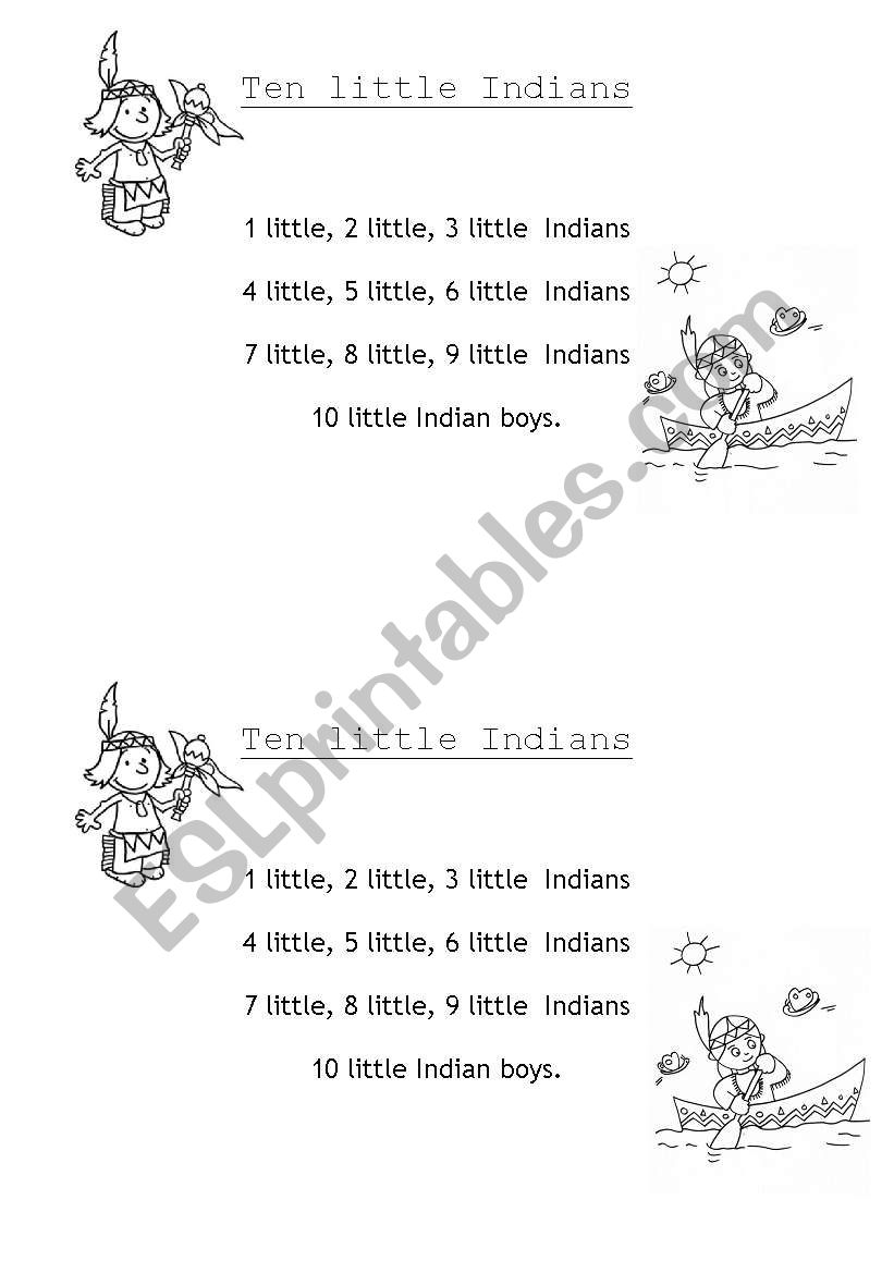 ten little indians worksheet