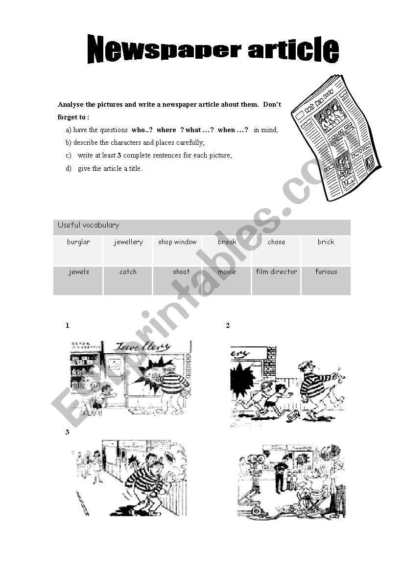 Writing a newspaper article esl worksheet by bigbang writing a newspaper article worksheet ibookread Read Online