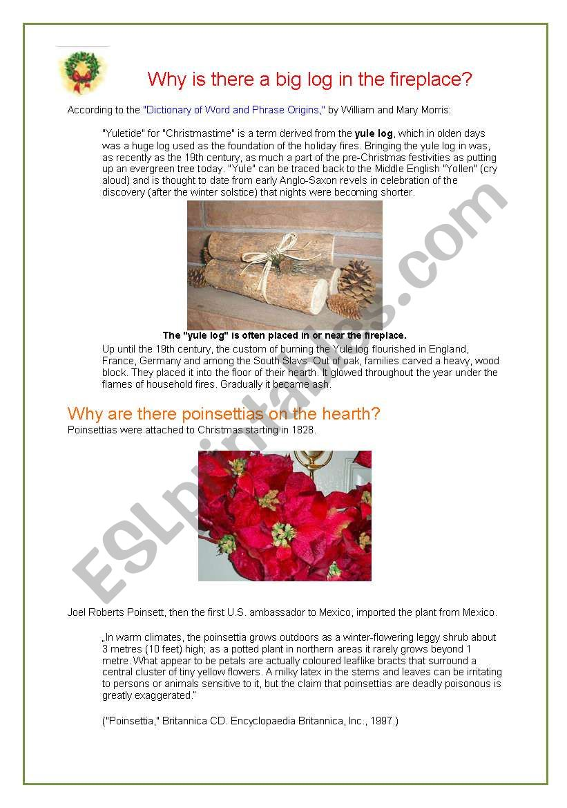 Why yule log? worksheet