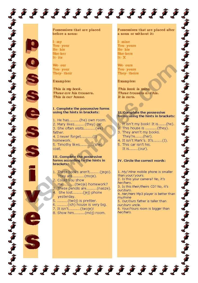 possessive forms worksheet
