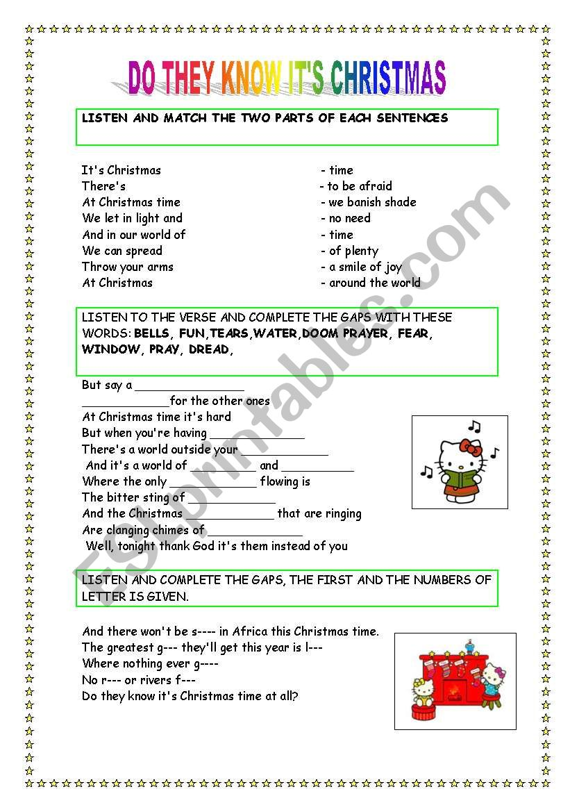 DO THEY KNOW IT´S CHRISTMAS SONG? - ESL worksheet by aragoneses