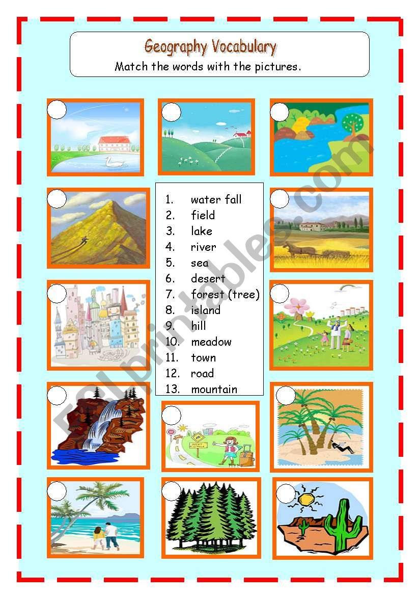 Geogrphy Landscapes worksheet