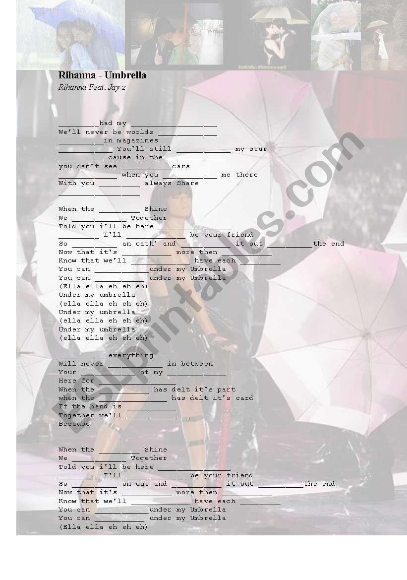 song umbrella rihanna esl worksheet mylena