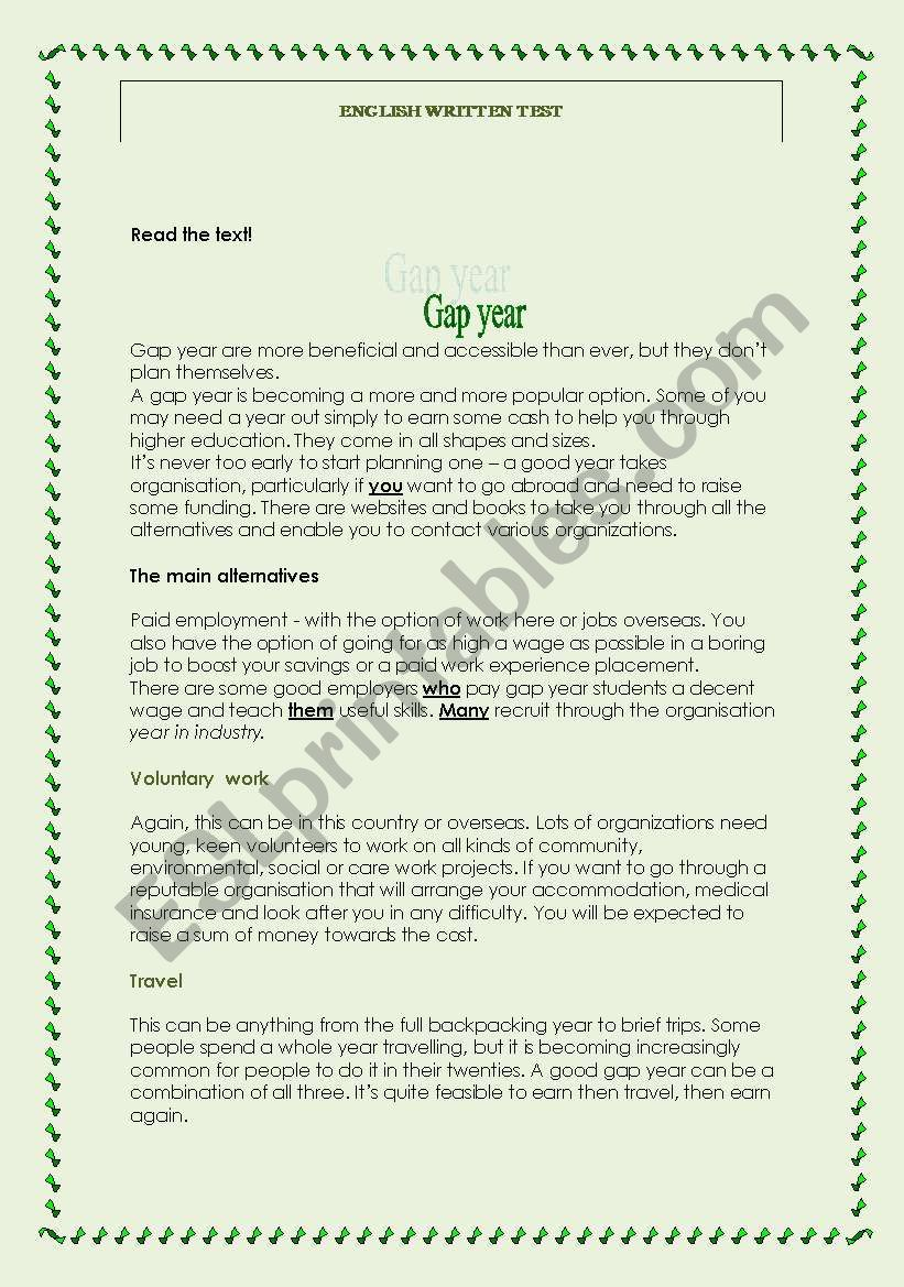 Test-Gap Year worksheet