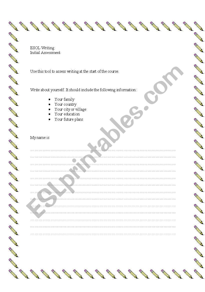 ESOL writing assessment worksheet