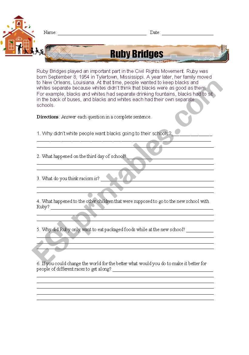 Ruby Bridges Reading Comprehension Worksheet Esl Worksheet By