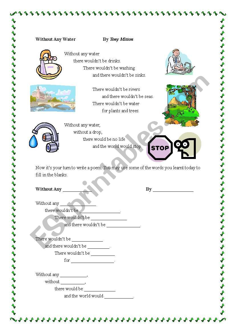 poem about saving energy - ESL worksheet by karencheng