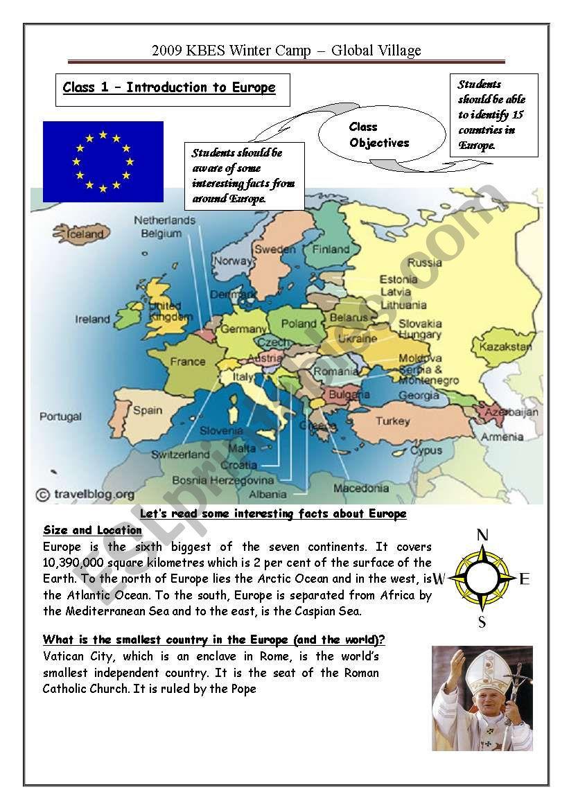 Europe (1 of 3) worksheet