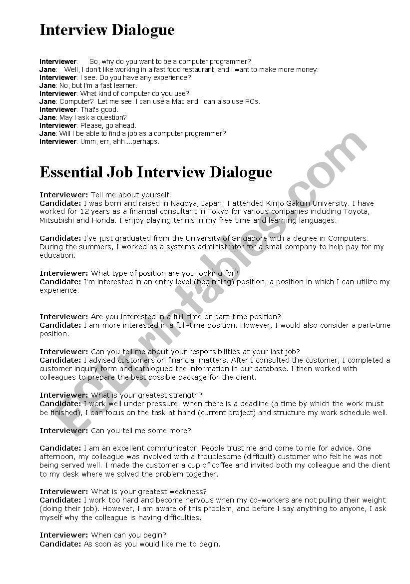 job interview dialogues