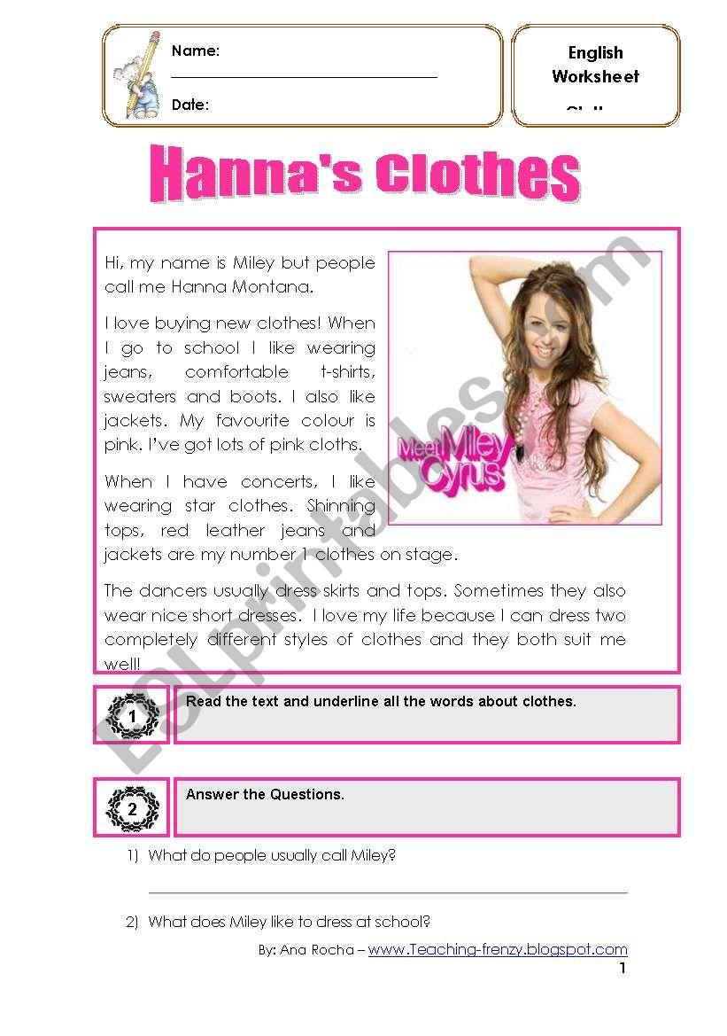 Hanna Montana´s clothes worksheet